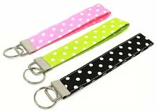 Polka Dots Fabric Key Fob Wrislet keychain - Black, Hot Pink, Green