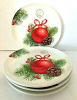 "Ceramica Cuore Italy SET of 4 Plates 9"" White w/ Christmas Design NEW w/ Tag"