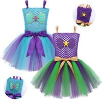 Girls Halloween Party Mermaid Mesh Tutu Dress Fancy Dress Up Performing Costume
