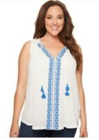 Lucky Brand Womens Tank Top Blouse Embroidered Center Front Boho Plus Size 3X