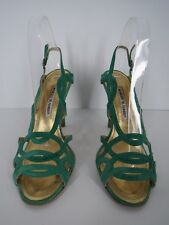 MANOLO BLAHNIK Sandals 7.5 37.5 Green Suede Strappy Criss Cross Heels Italy