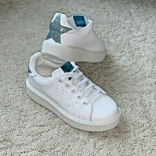 Girl White Leather Sneakers Victoria Casual Trainers Blue Star Hearts New