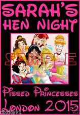 HEN NIGHT PARTY T SHIRT IRON ON TRANSFERS DISNEY PISSED PRINCESSES A5 BRIDE