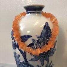 """Eye Glass Chip Beads Anklet 9.75"""" Handmade Ankle Bracelet Peach Orange Cats"""
