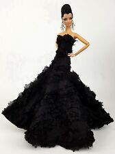 Eaki Silkstone Barbie Fashion Royalty Evening Black Flower Dress Outfit Gown FR
