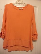 Chico's Sz 16 (3) Peach Long-Adjustable Sleeve Hi-Low Knit Tunic! Free Shipping!