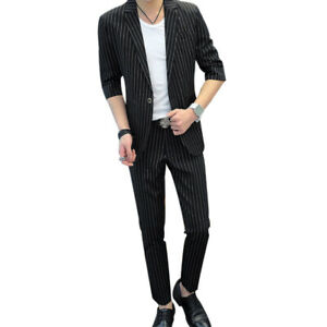 Men's Striped Business Slim Formal Party Jacket Pants Suit 2PCS Dress Blazer sz