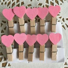 Craft Pegs Wooden x 5 Pack 4cm Long Hearts Butterfly Pink Purple Memo Pegs