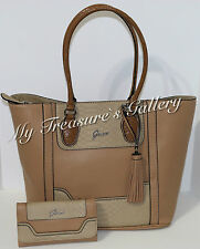 NEW Guess ST Cloud Tote Handbag Purse w/Wallet Taupe Multi NWT