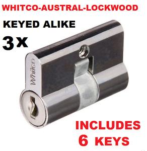 3 x Screen door security door lock key cylinder Barrel  Whitco Lockwood Austral