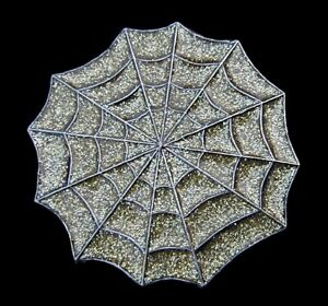 INTO THE SPIDERS WEB BELT BUCKLE WITH GOLD GLITTER MOBTOWN US MADE