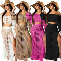 Women Tassels Hollow Out Perspective Boat Neck High Slit Casual Summer Dress 2pc