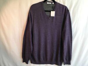 CALVIN KLEIN V-NECK PULLOVER SWEATER 100% fine merino wool Heather XXL (NWT)
