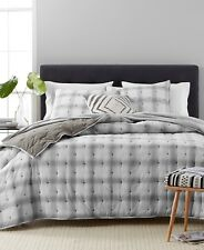Martha Stewart FULL/QUEEN Quilt Plaid Mist Grey T94414