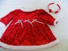 Girls  6/9 mo Youngland Christmas Dress Jeweled Velvet With Sequined Hairband