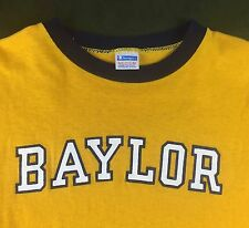 Vintage Mens M 70s Baylor University Champion Blue Bar Yellow Ringer T-Shirt
