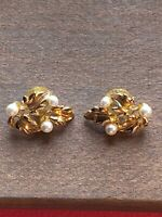 Napier Faux Pearl And Gold Tone Floral Lead Pierced Earrings