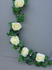 8FT! Artificial Ivy,Open Ivory Roses Garland Wedding/Festival Decoration