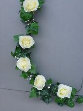 8FT! Artificiale Ivy, aprire AVORIO Rose Ghirlanda Matrimonio / Festa Decorazione