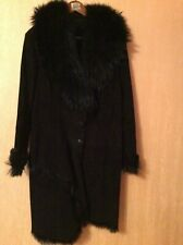Suede leather shearling coat size 14-16 real racoon fur collar VGC