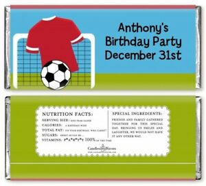 Soccer Personalized Birthday Party Candy Bar Wrappers - Candy Favor