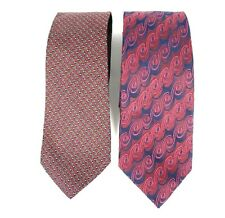 Damon Mens Necktie Lot of 2 Designer Tie Red 100% Silk L-59 60 W-3.5 NWOT