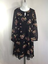NEW Black Floral Dress XS Keyhole Knee Length Fully Lined Long Sleeve