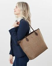 Joules Womens Adeline Tweed Tote Shopper - Dark Brown Check - One Size