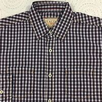 Vintage ITALIA Men's L/S Shirt L Large Brown Blue Checked NWT $98 New NICE