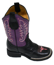 Kids Genuine Leather Cowboy Boots Square Toe 030