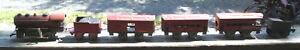 Vtg Hafner Red Overland Flyer 1110 Wind Up Engine Baggage Passenger Cars 919