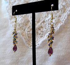Purple Teardrop Beads and Blue Swarovski Crystal Beads Drop Earrings