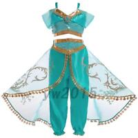 Kids Aladdin Costume Princess Jasmine Outfit Girls Sequin Party Fancy Dress Cosp