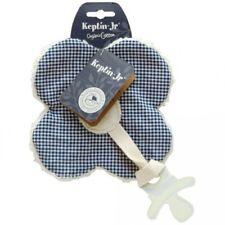 Doudou fleur attache sucette coton bio à carreaux bleu marine et blanc KEPTIN Jr