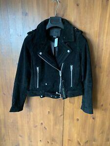 RRP £145 - BLANKNYC FREE PEOPLE CROP BIKER JACKET Black Suede Leather S / 8-10