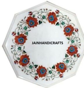 2'x2' Red Flower Marble Table Top Inlay Stone Corner Center Side Octagon White