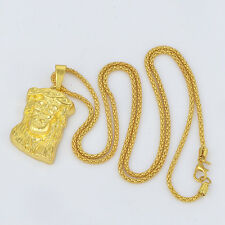 Fashion Punk Mens 24k gold filled micro jesus piece 'GOD BLESS' hip hop chain