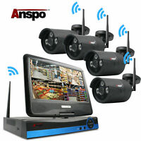 4CH Wireless WiFi Camera Outdoor NVR Home Security CCTV System LCD Monitor Black