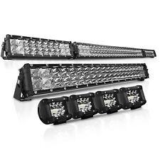 "52Inch Folding Curved LED Work Light Bar + 30"" + 4+4"" Spot Flood Offroad Fog"
