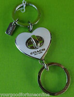 NEW Coach White Silver Heart Enamel Valet Turn lock Key Chain Ring FOB F 92740