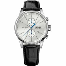 Hugo Boss Men's Black Leather Strap Silver Steel Case Watch 1513282
