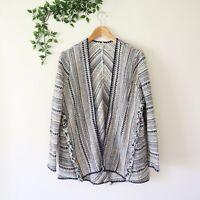 Lucky Brand Women's Fringe Trim Long Sleeve Hippie Sweater Jacket S Small Blue