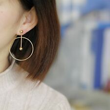 14K Yellow Gold Plated  Round Large Hoop Dangle Drop Fashion Earrings 068