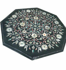 "14"" Black Marble Glorious Table Top Semi Precious Stones Inlaid Home Decor"