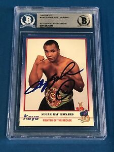 SUGAR RAY LEONARD Signed 1991 KAYO Card #156 Beckett Authenticated BAS