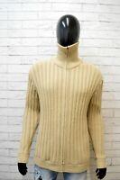 Levi's Uomo Taglia 2XL Maglione Felpa Sweater Cardigan Pullover Lana Beige Man