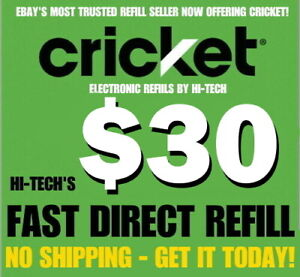 CRICKET $30 ✅ FASTEST REFILLS 💥 DIRECT to PHONE 💥 GET IT TODAY