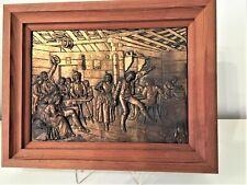 Kupfer Relief Holzrahmen WIRTSHAUSSZENE Wandbild Kupfer /R23/43
