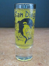 SAN DIEGO  KILLER WHALE TALL SHOT COLLECTABLE original GLASS WITH GOLD RIM!