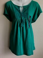 New Gap Women's Embroidered Tassel Tee Loose Fit Runs Big Small Linen Tunic grn